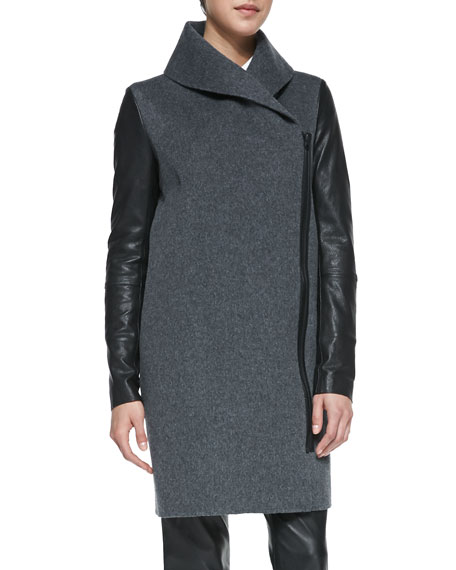 Leather-Sleeve Shawl-Collar Coat, Heather Gray