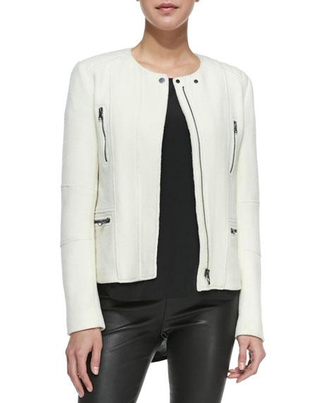 Boucle Moto Jacket, Off White