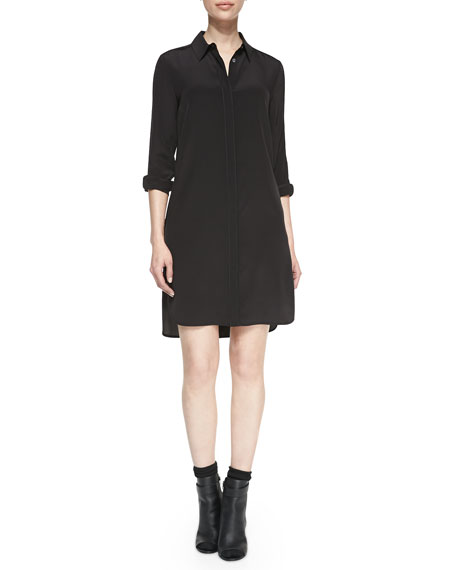 Long-Sleeve Silk Shirtdress, Black