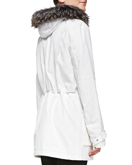 Quilted Parka with Fur-Trimmed Hood