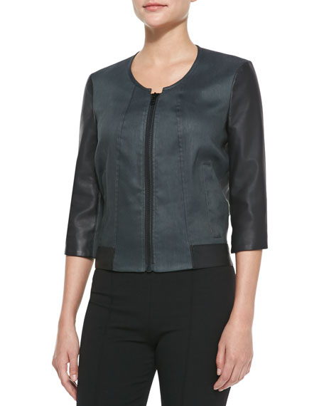 Lambskin and Glossy Linen-Twill Bomber, Midnight