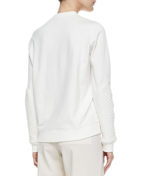 Quilted-Patch Knit Sweatshirt,  Winter White