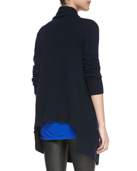 Open-Front Brick-Textured Cardigan, Coastal Blue