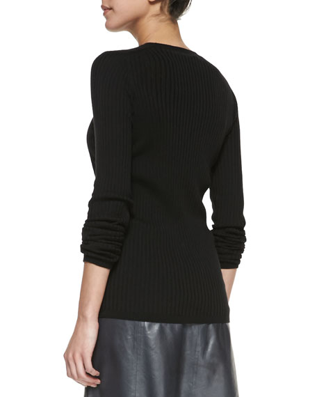 Long-Sleeve Ribbed-Knit Top