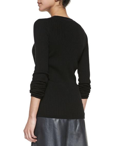 Long-Sleeve Ribbed-Knit Top