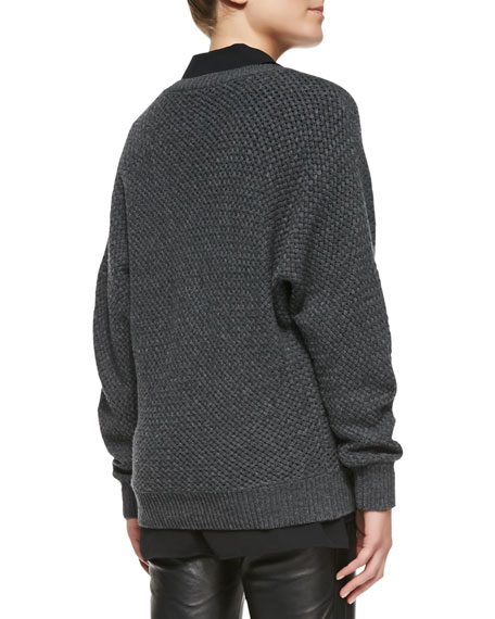 Textured Knit V-Neck Sweater