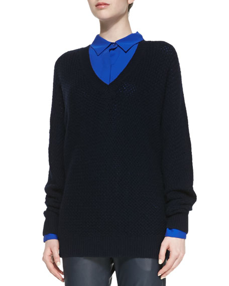 Dolman-Sleeve Mesh Sweater