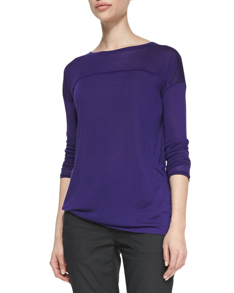 Long-Sleeve Tee with Silk Piping, Berry
