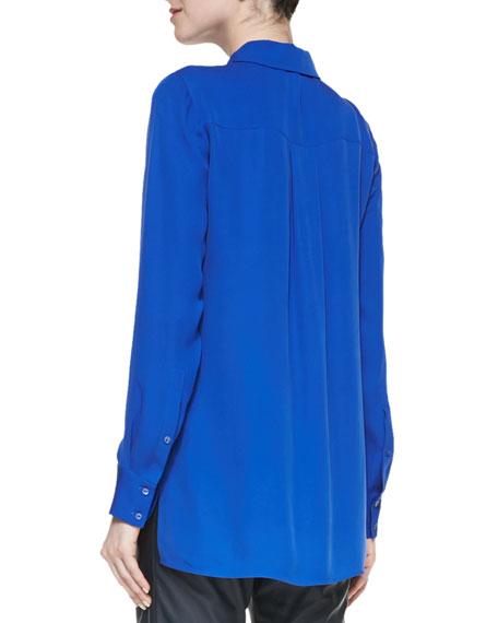 Classic Long-Sleeve Silk Blouse