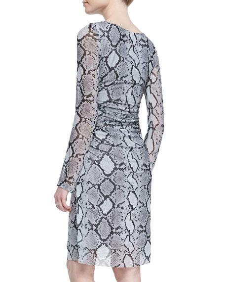 Long Sleeve Snake-Print Mesh Dress