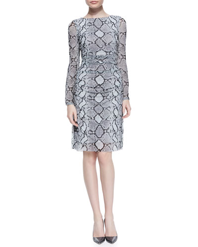 Kay Unger New York Long Sleeve Snake-Print Mesh Dress