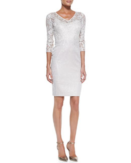 Kay Unger New York 3/4-Sleeve Lace Bodice Cocktail Dress