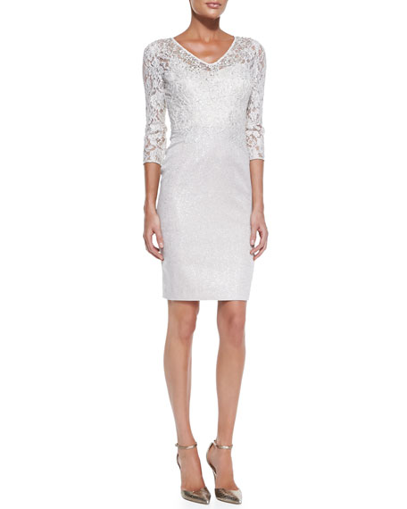 3/4-Sleeve Lace Bodice Cocktail Dress