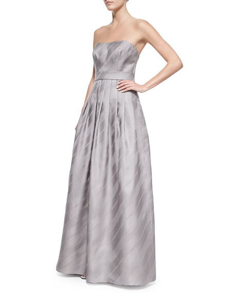 Strapless Striped-Skirt Ball Gown