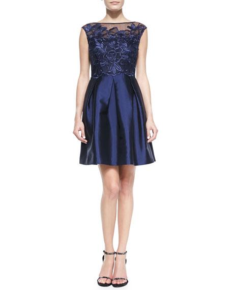 Cap-Sleeve Pleated-Skirt Cocktail Dress
