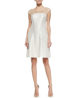Kay Unger New York Tweed Mesh Neck Cocktail Dress