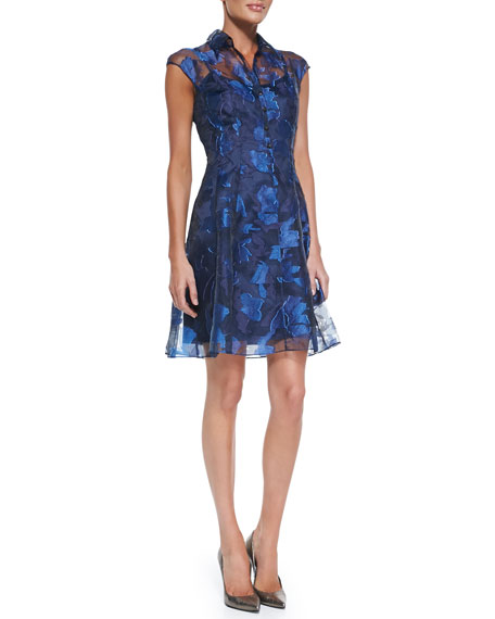 Cap-Sleeve Button-Front Lace Overlay Cocktail Dress
