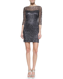 Kay Unger New York 3/4-Sleeve Lace Overlay Cocktail Dress