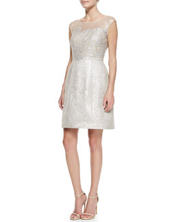 Kay Unger New York Damask Illusion Cocktail Dress