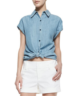 Alice + Olivia Oren Chambray Cuffed-Sleeve Shirt