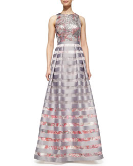 Kay Unger New York Sleeveless Sequined Floral-Bodice Gown