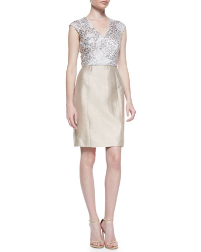 Cap-Sleeve Sequined Bodice Cocktail Dress