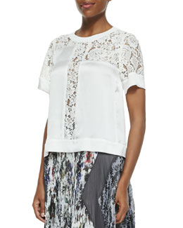 Rebecca Taylor Lace-Inset Satin Top