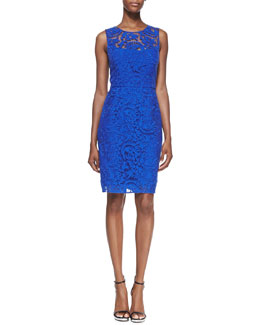 Kay Unger New York Sleeveless Lace Overlay Sheath Dress