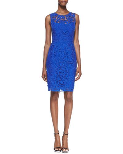 Kay Unger New York Sleeveless Lace Overlay Sheath Dress