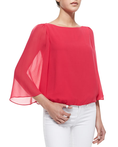 Alice + Olivia Katelyn Sheer-Bell-Sleeve Top, Pink