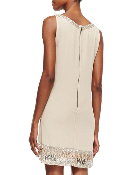 Emile Crepe Embroidered Sleeveless Dress