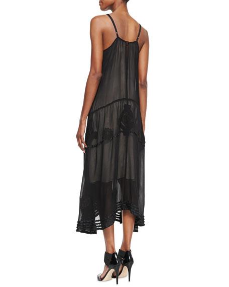 Dejas Silk Embroidered Trapeze Maxi Dress