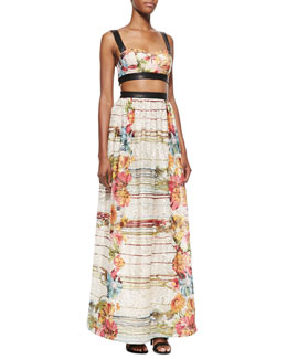 Alice + Olivia Dian Leather-Trim Cutout Maxi Dress