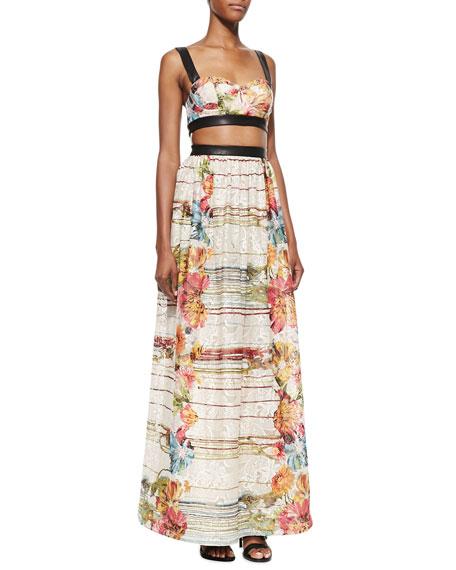 Dian Leather-Trim Cutout Maxi Dress