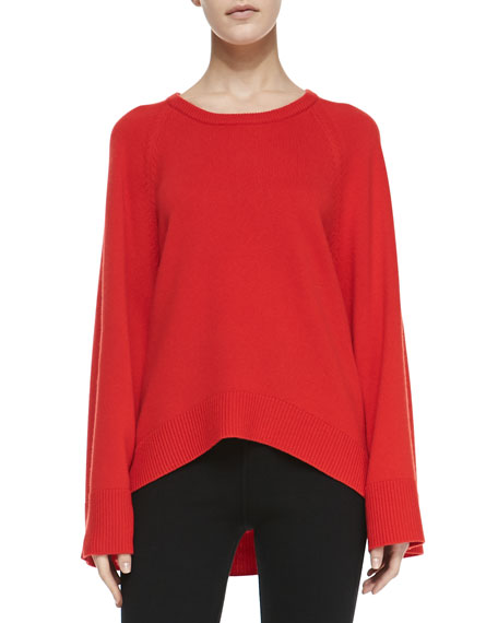 Arch-Hem Cashmere Tunic, Coral