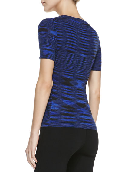 Space-dye Cashmere Short-Sleeve Top, Sapphire
