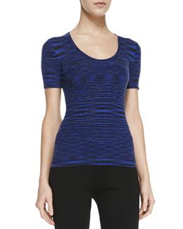 Michael Kors Space-dye Cashmere Short-Sleeve Top, Sapphire