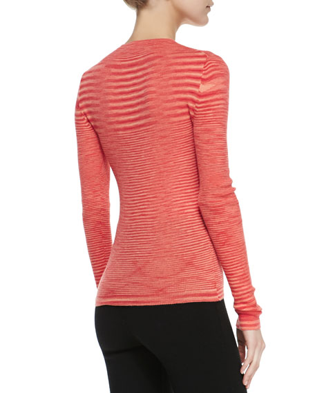 Space-dye Cashmere Long-Sleeve Top, Coral