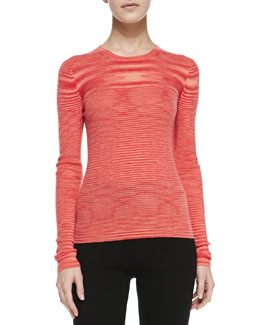 Michael Kors Space-dye Cashmere Long-Sleeve Top, Coral