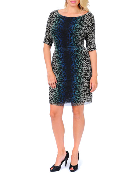 3/4-Sleeve Ruched-Side Leopard-Print Dress, Women's