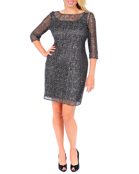 Beaded & Sequined Lace Overlay Cocktail Dress, Women's