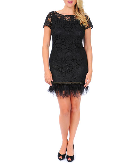 Lace Sheath Dress with Feathered Hem, Women's