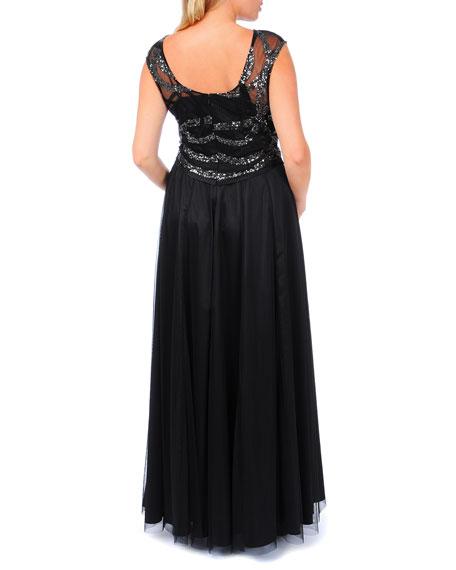 Cap-Sleeve Beaded Swirled Gown, Women's