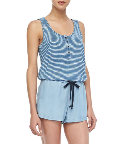 Ella Moss Sleeveless Striped Indigo Romper