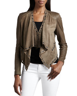 Neiman Marcus Grommet-Trimmed Leather Jacket