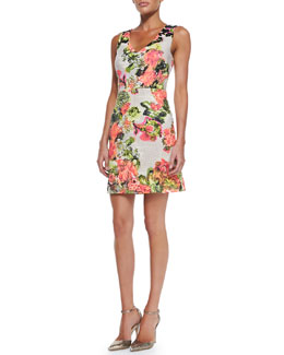 Kay Unger New York Sleeveless Floral-Print Cotton Dress