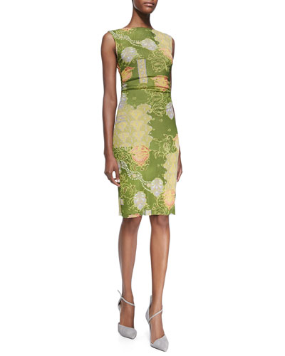 Kay Unger New York Sleeveless Floral-Print Ruched Dress