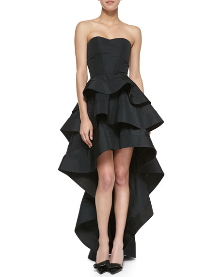 Leros Silk Ruffled Strapless High-Low Dress