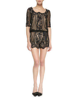 Alexis Calbon Lace Short Jumpsuit, Black