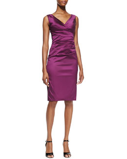 Talbot Runhof Sleeveless Fitted Ruched Cocktail Dress